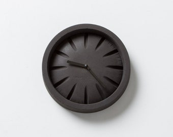 PO Black Concrete Clock with Black Hands by Plywood Office