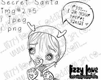INSTANT DOWNLOAD Includes Sentiment Kawaii Christmas ~ Secret Santa No.275 by Lizzy Love