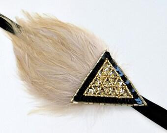 1920s Headpiece Gold Flapper Style Headband, Gatsby Headpiece, Flapper Headband, 1920s Dress Accessory, Roaring 20s Headband Gatsby Headband