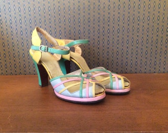1940s Adrian Pastel Platforms 40s Green Pink Yellow Leather