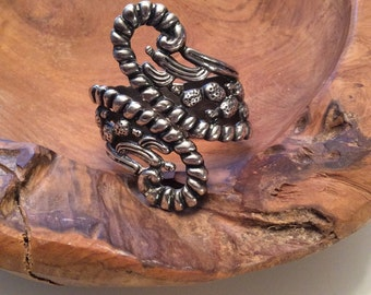 1950s Taxco Mexican Sterling Silver Cactus Bracelet 50s Mexico Bypass Clamper