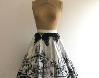 1950s Painted Mexican Skirt 50s Scenic Kent Circle City Cityscape