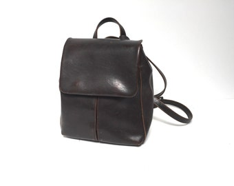 mini 90s brown sleek LEATHER RUCKSACK backpack