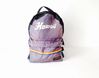 vintage RAINBOW hawaii color block 80s nylon BACKPACK back to school bag book bag