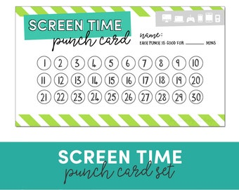 Screen Time Punch Card - Reward Chart - Behavior Chart - Electronics