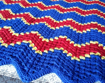 superman blanket toddler teen adult ku university of kansas jayhawks red blue yellow gold royal usa american blanket afghan crochet knit