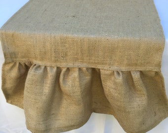 Burlap Table Runner with Ruffle, Extra Wide Ruffle Table Runner, Custom Sizes Available
