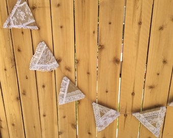 Burlap and Lace Flag Garland, READY to SHIP, White Lace and Burlap, Shabby, Country, Boho Chic, Use for Wedding, Shower, Party, Home Decor