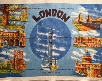 "Vintage Linen Souvenir Tea Towel ,  Mid-Century Tea Towel of London with Historical Interest , ""Irish Cabin"" Linens"