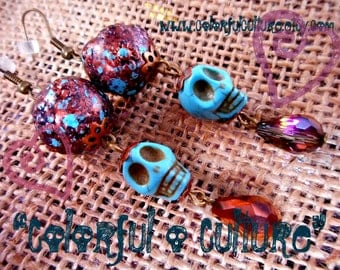 Dia de los Muertos - Day of the Dead  / Turquise Sugar Skull Earrings, Copper Tones Resin Beads and  Crystal Beads