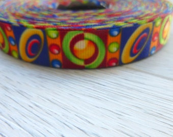 Saturn Rings- Retro -Psychedelic-  Ribbon - 1 cm wide or 0.5 inch