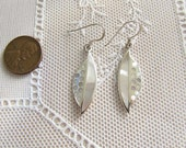 Inlaid Mother of Pearl Leaf Sterling Silver Earrings, MOPEarrings, Naturalist gift