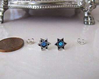 small opal Star of David Sterling Silver Stud Earrings,  Minimalist
