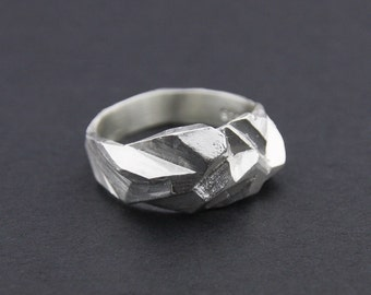 Fractured Facet Ring: Sterling Silver Faceted Ring
