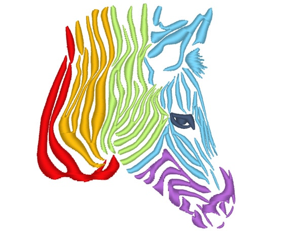 Rainbow zebra head machine embroidery designs and