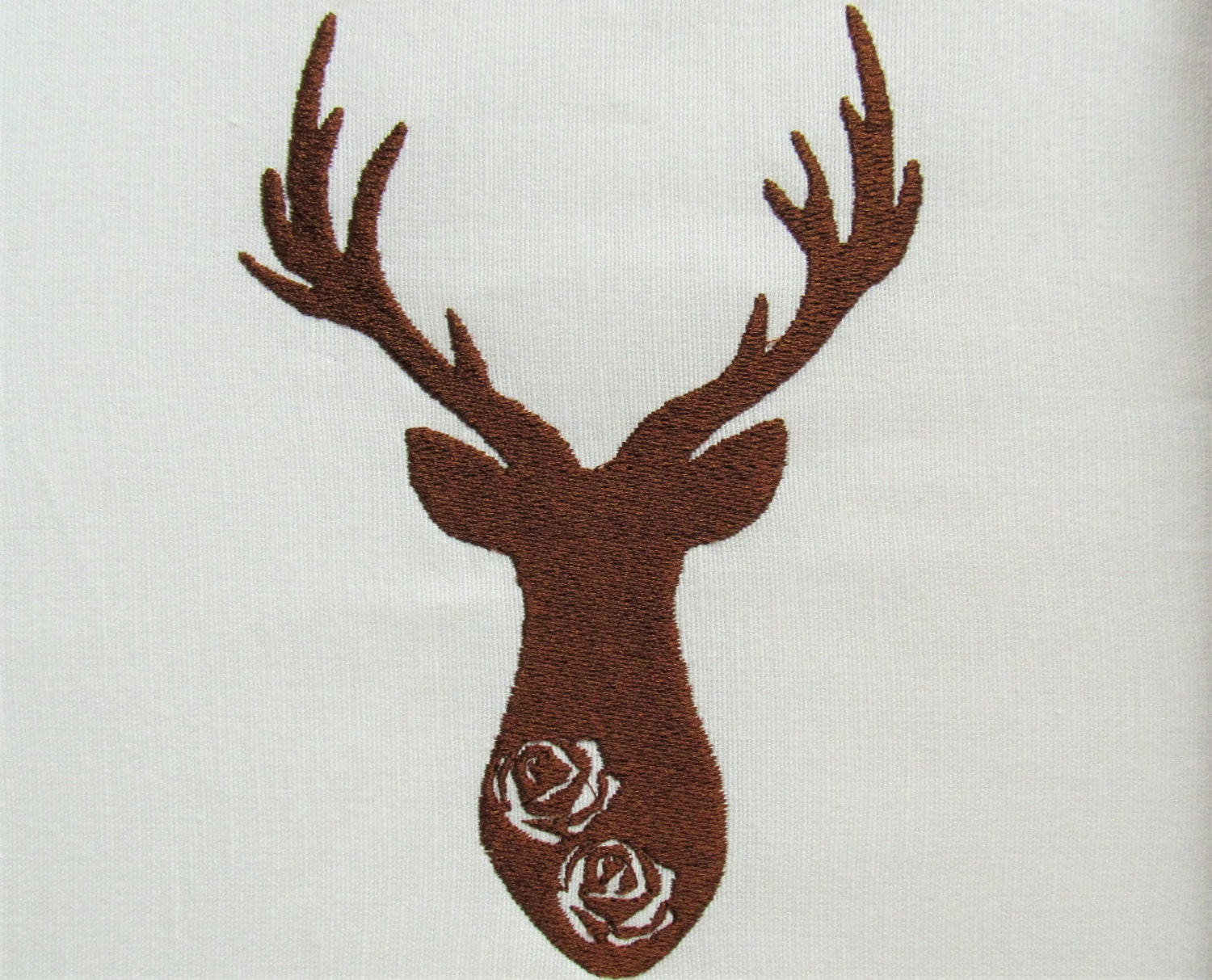 Buck deer embrossed flowers silhouette machine embroidery