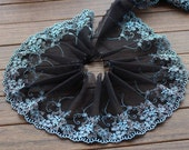2 Yards Embroidered Lace Trim Floral Embroidered Black Tulle Lace Trim 6.29 Inches Wide