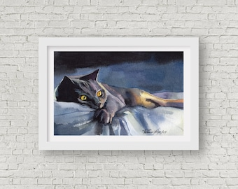 Print of Watercolor Painting Grey Cat Kitty Kitten Gray British Cat Picture