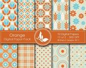 50% Off Orange Paper Pack - 10 Digital papers - 12 x12 - 300 DPI