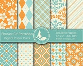 50% Off Flower Of Paradise Paper Pack - 10 Printable Digital scrapbooking papers - 12 x12 - 300 DPI
