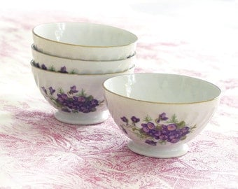 set of 4 french tiny cafe au lait bowl ,country flowers, violettes