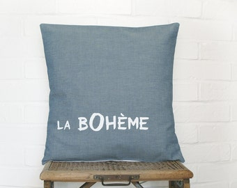 La Boheme blue grey Pillow case, Hand printed Cushion cover, euro sham 16 x 16 , bohemian home decor