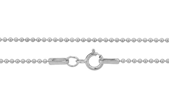Ball Chain with clasp Sterling Silver 1.2mm 18 Inch  - 5pcs Neck chain (3102)/5