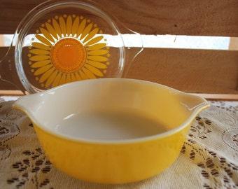 Pyrex, Casserole, Casserole Dish, Serving Dish, Vintage Pyrex, 471, 1 Pint, Yellow, Sunflower, Sunshine
