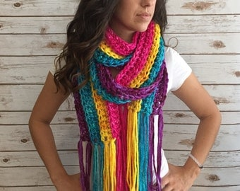 Extra Long Multi Color Hand Dyed Pure Merino Fringe Scarf,  Fashion Accessories