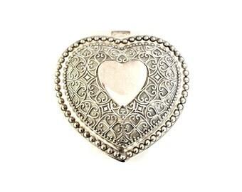 Vintage Wedding Ring Box . Heart Jewelry Box . silver ring box . shabby chic wedding  . heart box . heart trinket box . silver trinket box