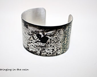Cuff bracelet, vintage map, silver, adjustable, Black and white No. BB