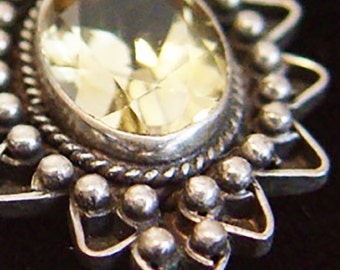 Citrine Dreams-Silver Pendant-November Birthstone- Classic Vintage Jewelry