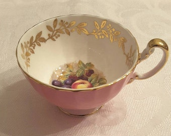 Aynsley Tea Cup ONLY; Oban shaped; Pink; Hand Painted Fruit; Signed by D. Jones- circa 1930's  -DR