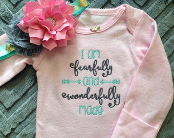Pink, Aqua, and Gray Fearfully and Wonderfully Made onesie with Arrows and matching headband