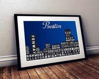 Boston Poster, Skyline Poster, Typography Print, Poster, Living Room, Art Decor, City Map, Modern Art Print, Gift