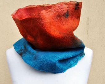 Felted golf, silk, wool, nuno, felted, gift, fibre art, turquoise, rust