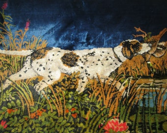 Vintage Hunting Dog Spaniel Tapestry Rug Wall Hanging Italy Duck Pheasant Bird