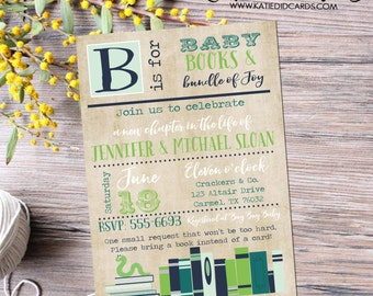 bring a book baby shower invitation bookworm shabby chic sprinkle mint green navy chapter b is for baby rustic theme library 12123 bookshelf