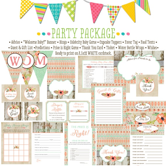 tribal boho coral girl mint 1445 package AS IS Matching games, ticket banner, bingo, thank you card, water bottle wraps, cupcake toppers