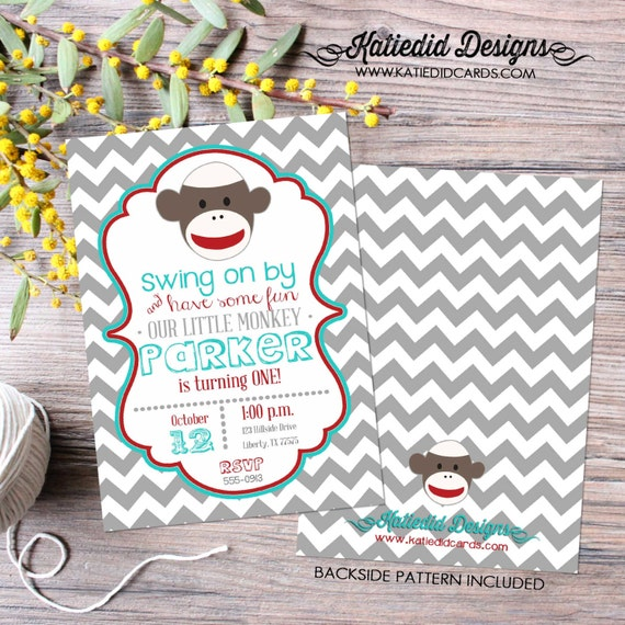 sock monkey invitation birthday baby boy shower party bash red aqua red baby sprinkle diaper baptism twin (item 267) shabby chic invitations