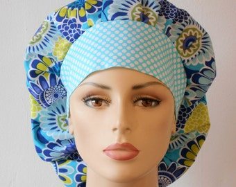 Scrub Hats Modern Floral Medallions in Shades of Blue Womens Bouffant Scrub Hats Blue and White Polka Dot Headband USA