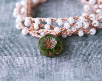 Crochet Beaded Wrap Bracelet, Crochet Bracelet Wrap, Bohemian Bracelet Stack, Boho Wrap Beaded Bracelet, Boho Bracelet Crochet, White