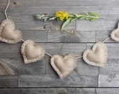 Burlap heart  garland, mini heart garland, rustic burlap garland, burlap hearts, rustic bunting, wedding hearts