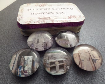Scottish Scenery Magnets From Scotland Set of 5 in a Gift Tin, Travel Photos, Glass Marble Fridge Magnets, Travel Magnets, Edinburgh castle