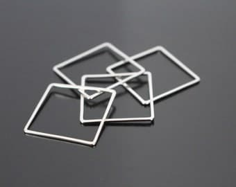 Jewelry findings, Shiny Silver Tarnish resistant Square chandelier pendant, connector, charm, PS52616