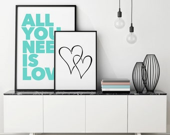 Two Hearts - Printable Art - Instant Download - 5 SIZES INCLUDED.