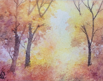Original watercolor ACEO painting - Autumn dazzle