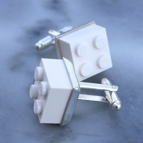 White Lego Brick Cufflinks - Silver plated - Valentine's Day Gift - Colorful Cuff Links