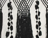 Antique Black 100% Silk Knotted Macrame Fringe With Bobble Tassels