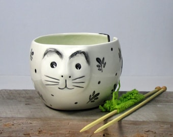 Cat Yarn bowl knitting bowl Ready to ship